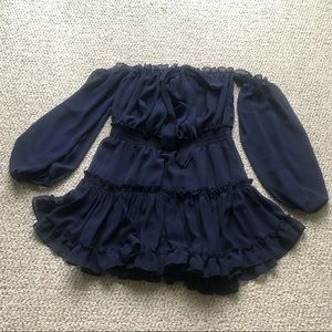 Misa Los Angeles Navy Blue Ruffle bow dress medium